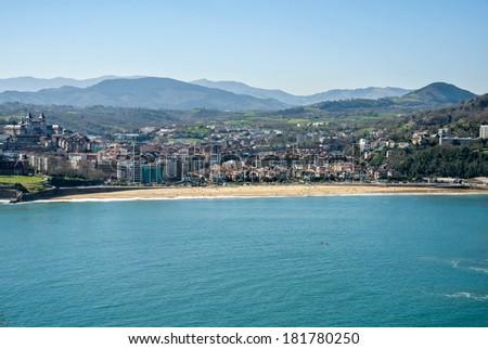 View of the bay of San Sebastian in Spain - stock photo