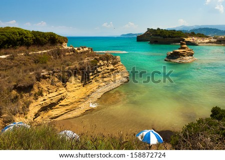 View of the bay of Sidari on Corfu. Canal d'amour - stock photo