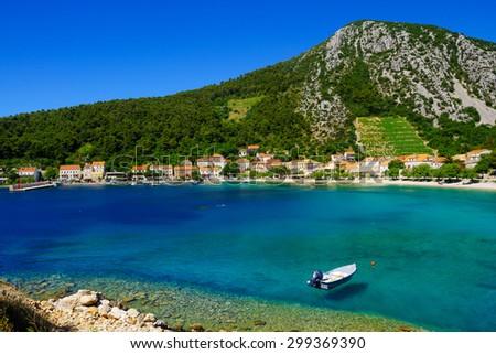 View of the bay of Trstenik, in the Peljesac peninsula in southern Dalmatia, Croatia - stock photo