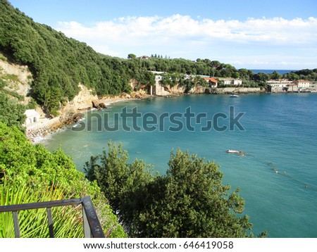 view of the beach and the Gulf of Lerici, Liguria, Italy