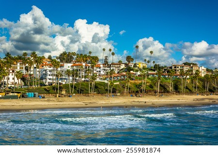 View of the beach in San Clemente, California. - stock photo
