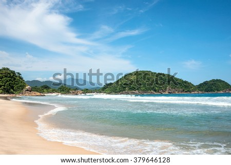 View of the beach in Trinidade, Paraty, Brazil