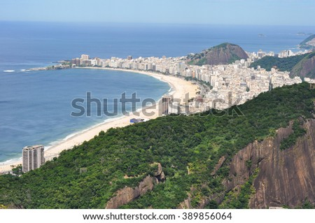 View of the beach of Copacabana with Sugar Loaf Mountain, Rio de Janeiro, Brazil - stock photo