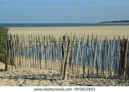 View of the beach of Le Touquet in France