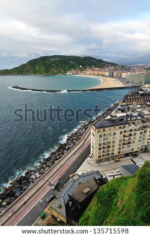 View of the beach of San Sebastian from the hill. - stock photo