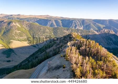 View of the Beartooth Mountain range near Red Lodge, Montana - stock photo