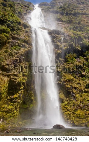 View of the beautiful and the largest waterfall in New Zealand Sutherland Falls - stock photo