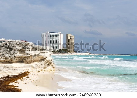 View of the beautiful beach in Cancun, Mexico. This is one of the best beaches in the Mexico. - stock photo