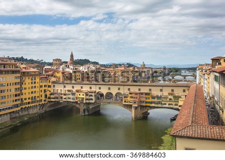 View of the beautiful city Florence with amazing bridge Ponte Vecchio a and Arno river,Tuscany, Italy. Travel destination.