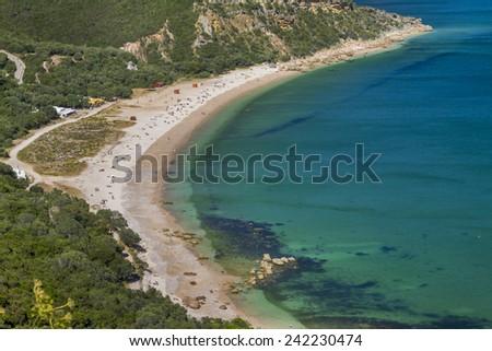View of the beautiful coastal landscapes of the Arrabida region located on Setubal, Portugal. - stock photo