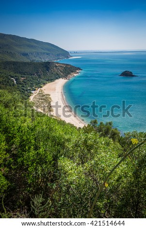 View of the beautiful coastal landscapes of the Arrabida region located on Setubal, Portugal.