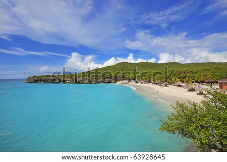 View of the beautiful Knip beach on Curacao