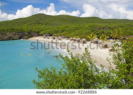View of the beautiful Knip beach on Curacao - stock photo