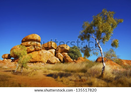 View of the beautiful landscape in the Australian outback. - stock photo