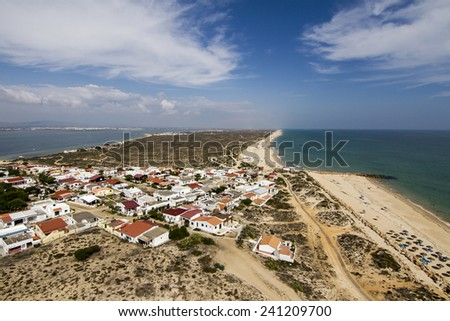 View of the beautiful landscape of island of Farol located in the Algarve, Portugal. - stock photo