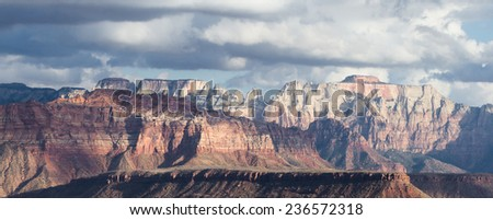 view of the beautiful red sandstone mountains with jagged edges of Zion National Park in Utah