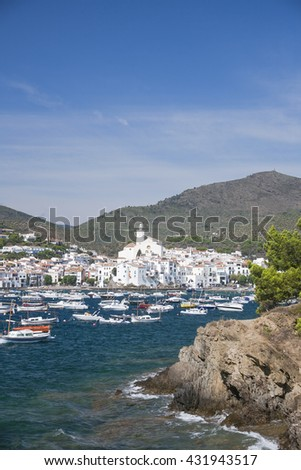 View of the beautiful village of Cadaques in the Costa Brava in Catalonia, Spain.
