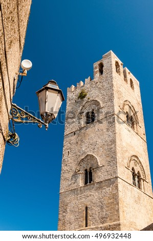 View of the Bell Tower for the Cathedral of Erice in Sicily, Italy. One of the main attractions of Erice.