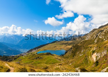 View of the Bettmersee (Lake) and the alps in Valais, Switzerland, near the famous Aletsch glacier - stock photo