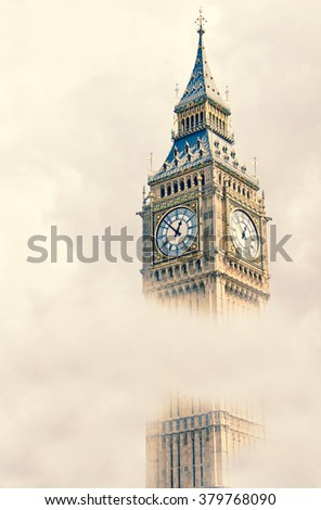 View of the Big Ben in a cloudy day, London