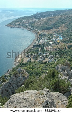 "View of the Black Sea coast with mountain called ""Cat"" - stock photo"