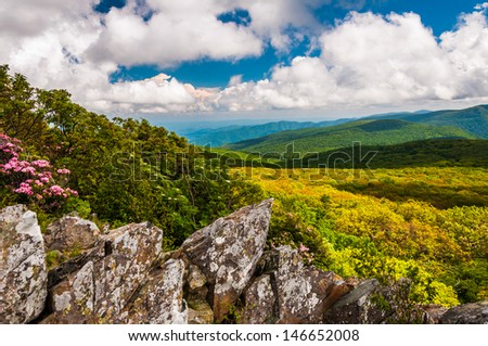 View of the Blue Ridge from cliffs on Stony Man  Mountain in Shenandoah National Park, VA. - stock photo