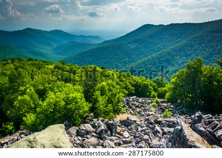 View of the Blue Ridge Mountains from Blackrock Summit in Shenandoah National Park, Virginia. - stock photo