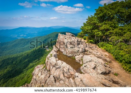 View of the Blue Ridge Mountains from Little Stony Man, along the Appalachian Trail in Shenandoah National Park, Virginia. - stock photo