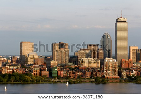 View of the Boston, MA Skyline of the Back Bay area. - stock photo
