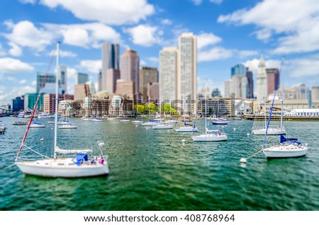 View of the Boston Skyline from the Bay. Tilt-shift effect applied - stock photo