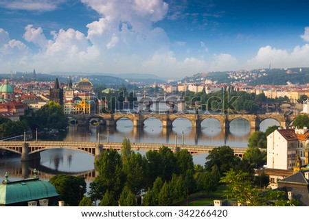 View of the bridges on Vltava river in Prague, Czech Republic