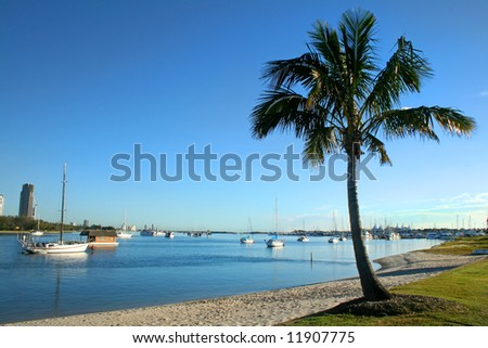 View of the Broadwater from Main Beach on the Gold Coast Australia in the early morning - stock photo