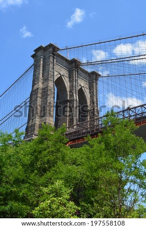 View of the Brooklyn Bridge from Brooklyn Bridge Park. - stock photo