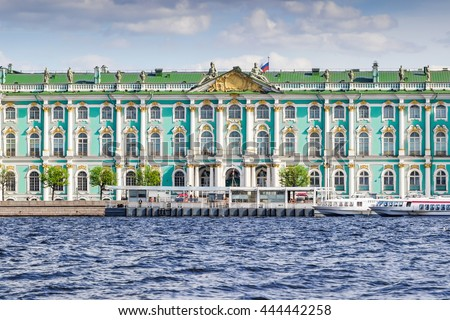 View of the building of Hermitage palace and Neva river, Saint Petersburg, Russia. - stock photo
