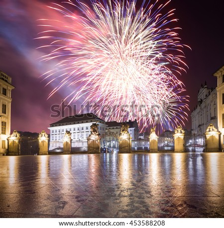View of the building of the President of the Republic in Prague (Night view ) and holiday fireworks, Czech republic