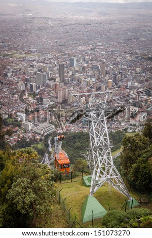 View of the cable car taking you to Igelsia de Monserrate in Bogota colombia - stock photo