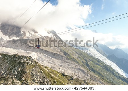 View of the cable car to the Aiguille du Midi in Chamonix, France