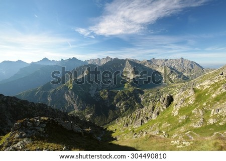 View of the Carpathians in the morning, Tatra Mountains. - stock photo