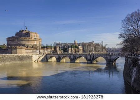 View of the Castel Sant'Angelo in Rome, Italy - stock photo