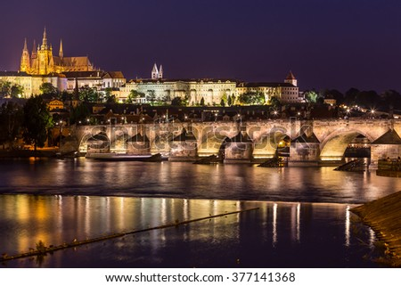 view of the castle and the cathedral of St. Vitus in Prague at night, Czech Republic