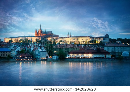 View of the Castle in Prague in the evening - stock photo
