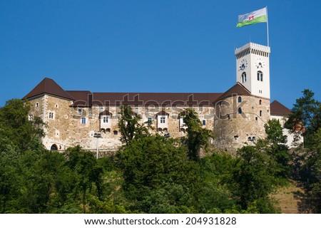 View of the castle in Slovenia's capital Ljubljana - stock photo