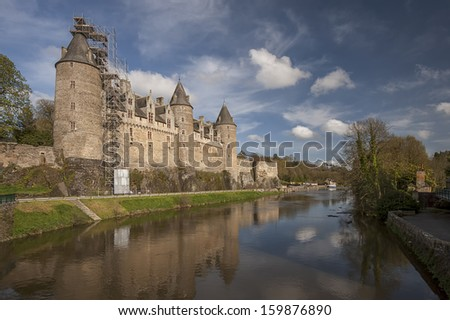 View of the castle of the city of Josselin in Bretagne, France - stock photo