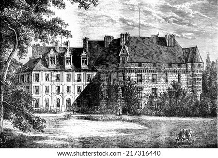 View of the castle of Valmont, vintage engraved illustration. Journal des Voyages, Travel Journal, (1879-80). - stock photo
