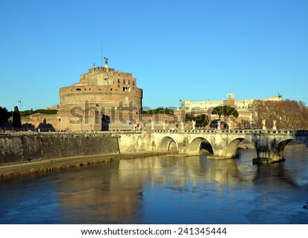 View of the castle  Sant'Angelo and bridge across the Tiber, Rome, Italy