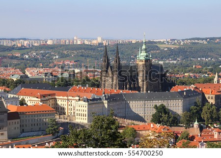 View of the Cathedral and Prague Castle in the Czech Republic Eastern Europe