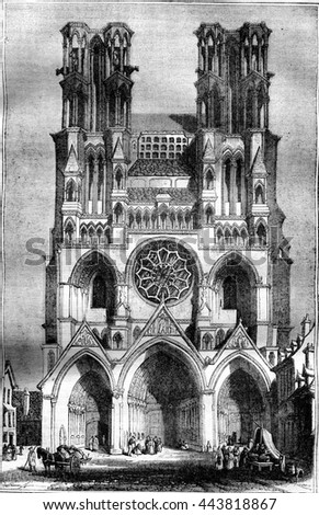 View of the Cathedral of Laon, vintage engraved illustration. Magasin Pittoresque 1836.