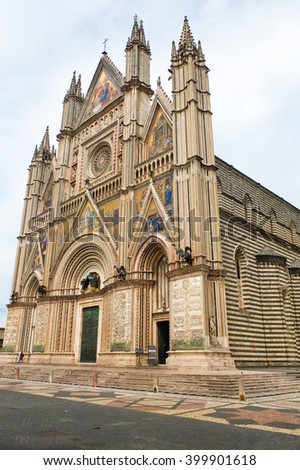 View of the cathedral of Orvieto Umbria Italy - stock photo