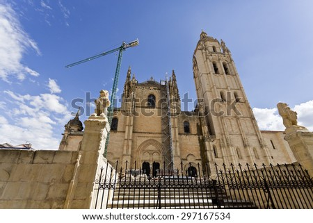 View of the Cathedral of Segovia, the Roman Catholic church built between 1525-1577 in a late Gothic style, Segovia, Spain. - stock photo