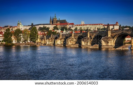 View of the Cathedral of St. Vitus and Charles Bridge.